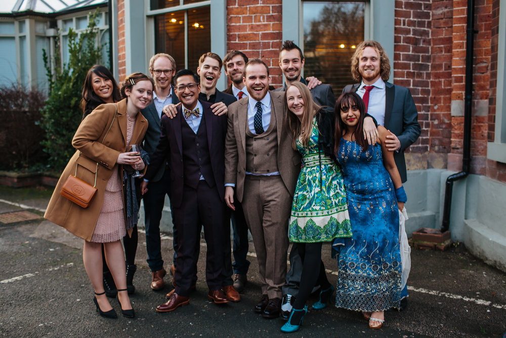 Wedding guests laughing in Yorkshire