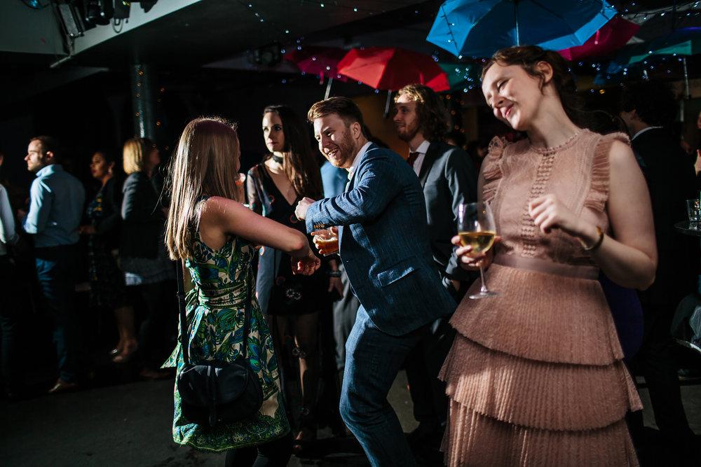 Wedding guests dancing at The Faversham Leeds