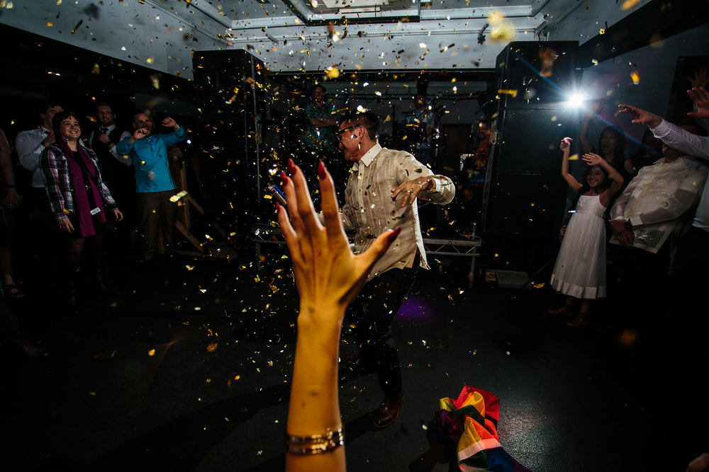 Confetti bomb at a wedding in Leeds