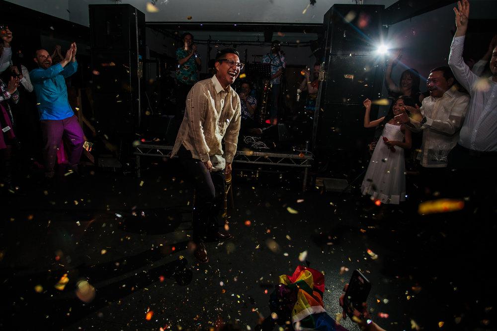 Confetti bomb at The Faversham Leeds Wedding