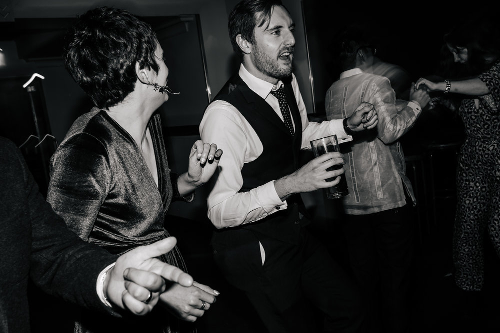Wedding guests dancing at The Faversham Leeds Yorkshire