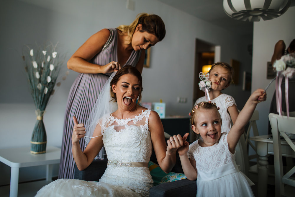Bride and bridesmaids in Spain