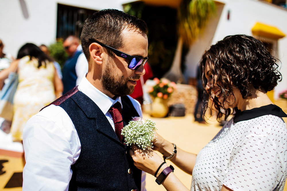 Groom and his buttonhole in Nerja Spain