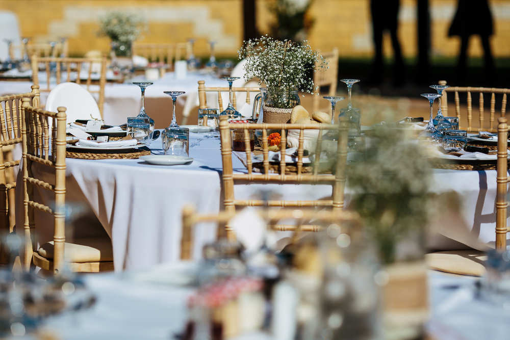Table details and centrepieces at Cortijo Maria Luisa Nerja Spain