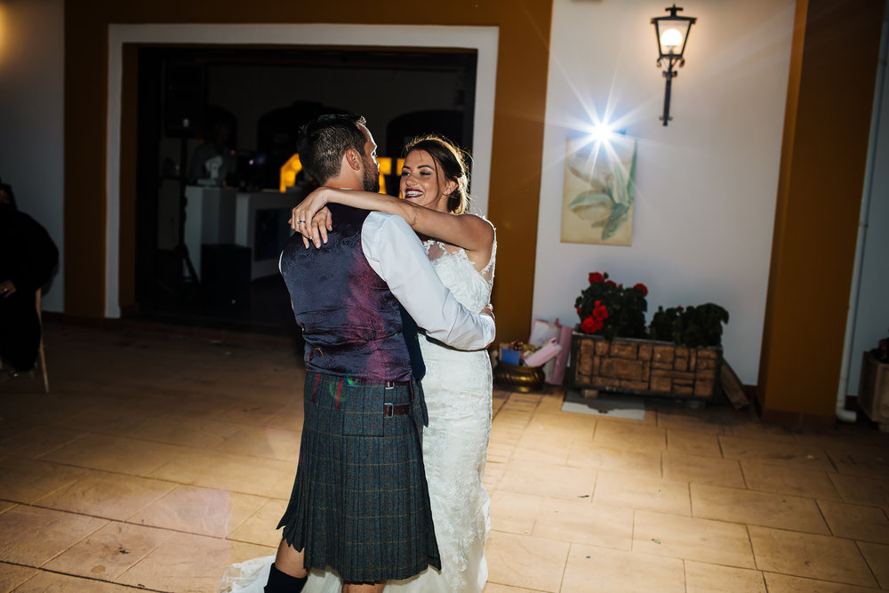Bride and groom's first dance in Nerja Spain