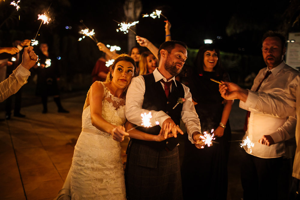 Sparklers at a wedding at Cortijo Maria Luisa Nerja Spain