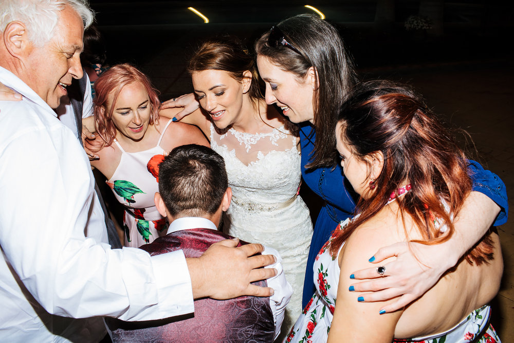 Bride and friends dancing in Costa Del Sol wedding