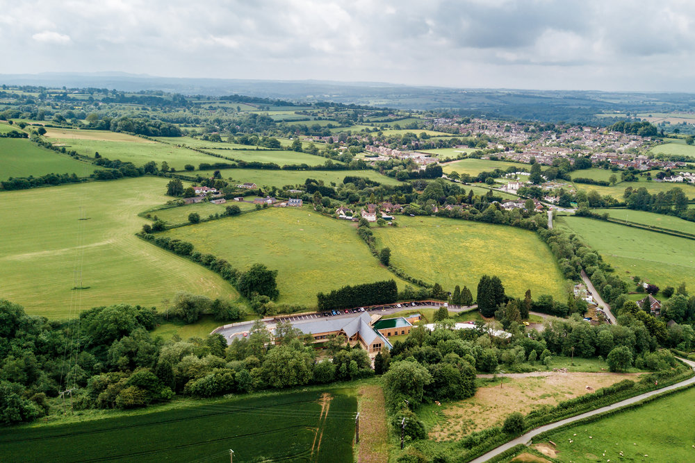 Aerial photo of Mill Barns Wedding Venue Shropshire