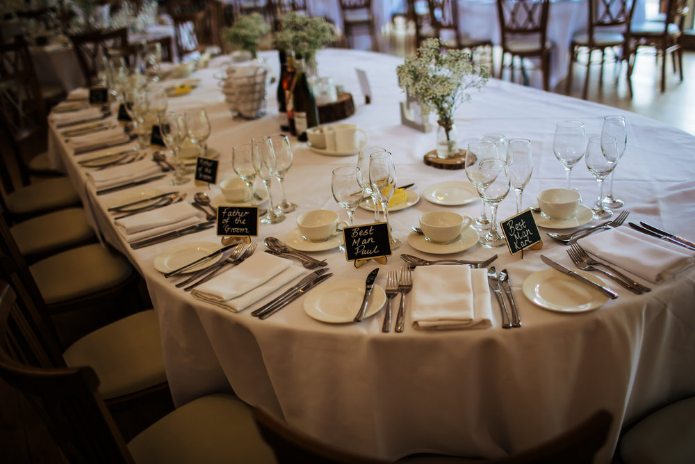 Table decorations at Mill Barns Wedding Venue Shropshire