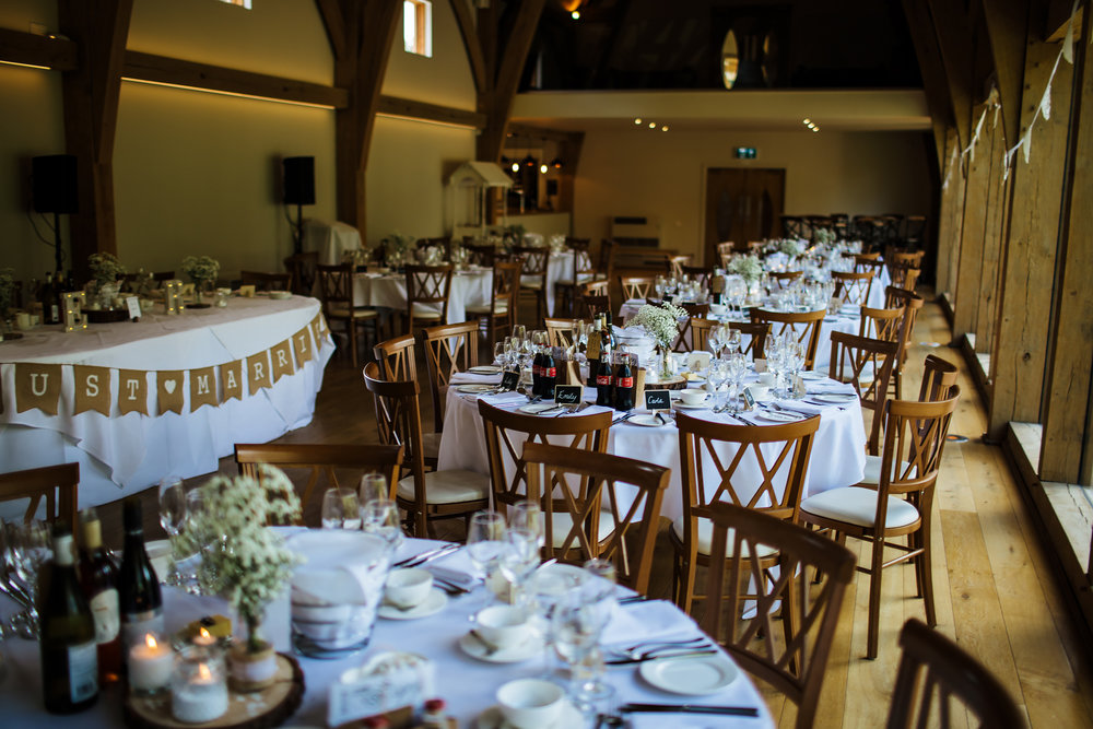 Wedding breakfast set up in Shropshire