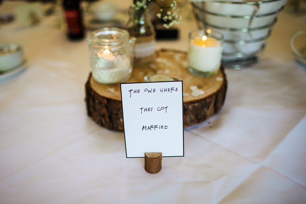 Friends table decorations at a wedding