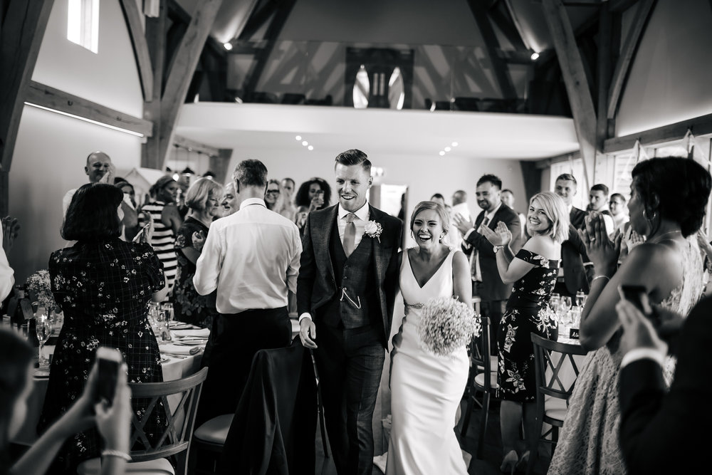 Bride and groom entrance at Mill Barns Wedding Venue Shropshire