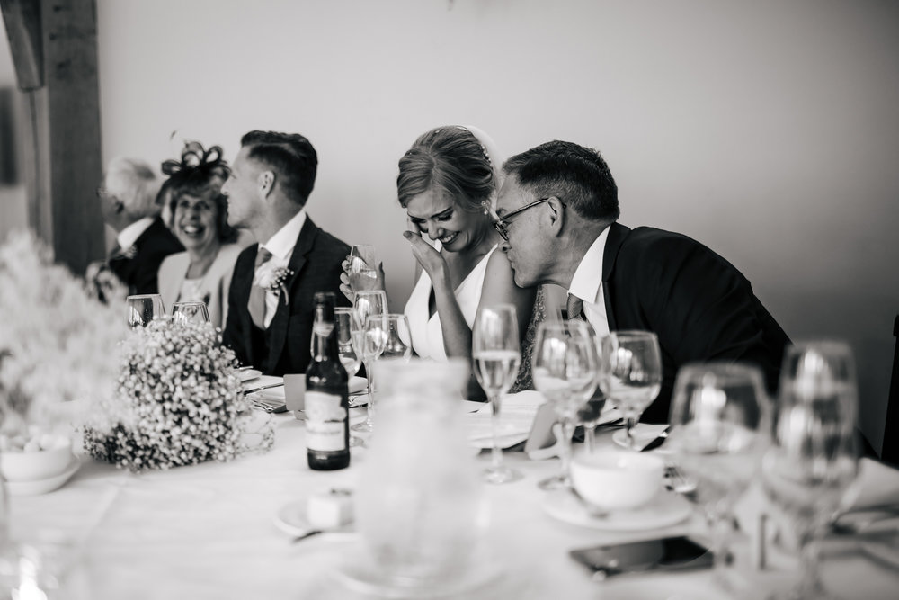 Bride and father crying at her wedding