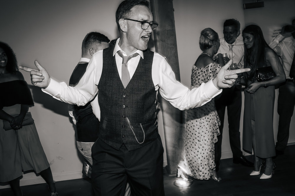 Dad dancing at a wedding in Shropshire