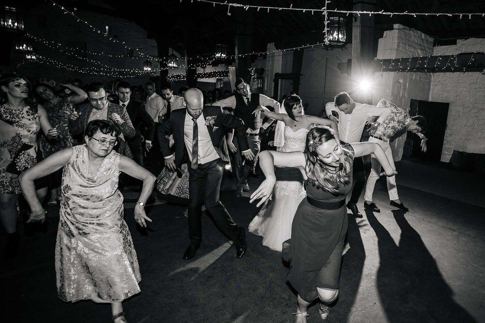 Wedding guests posing on the dance floor Leeds Yorkshire