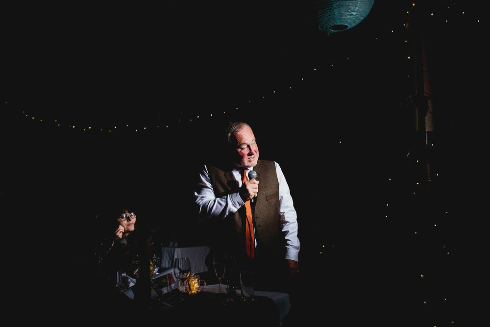 Bride's father make a speech at a wedding