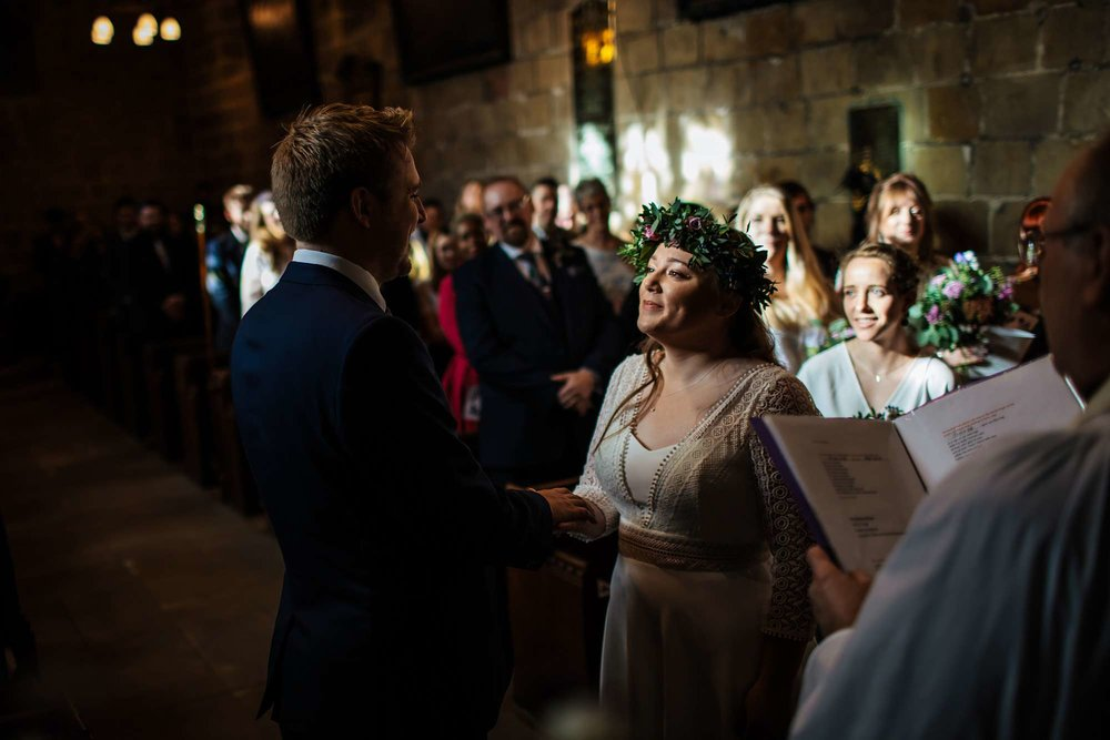 Bride at a church wedding ceremony in Yorkshire