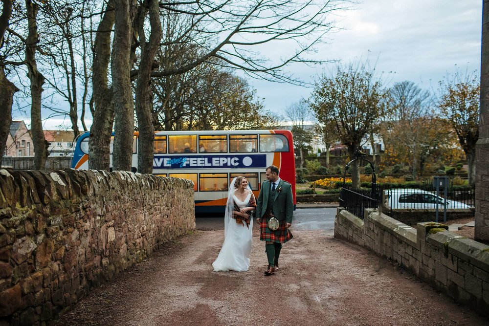 Wedding bus portrait feel epic