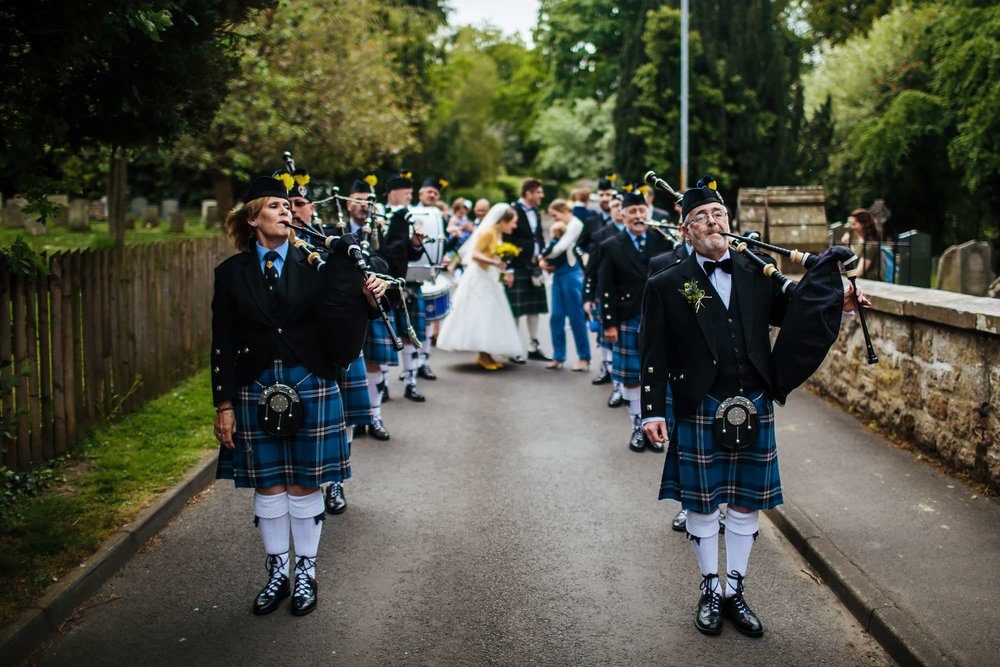 Pipers at a wedding in Northumberland
