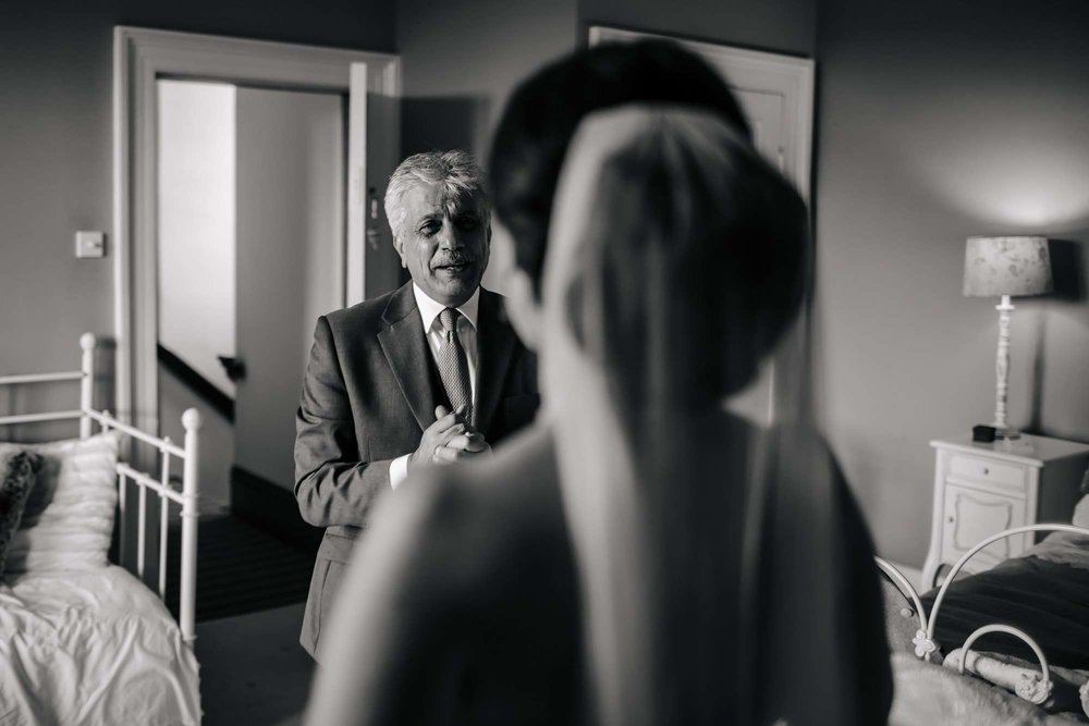 Dad cries seeing the bride for the first time in her wedding dress