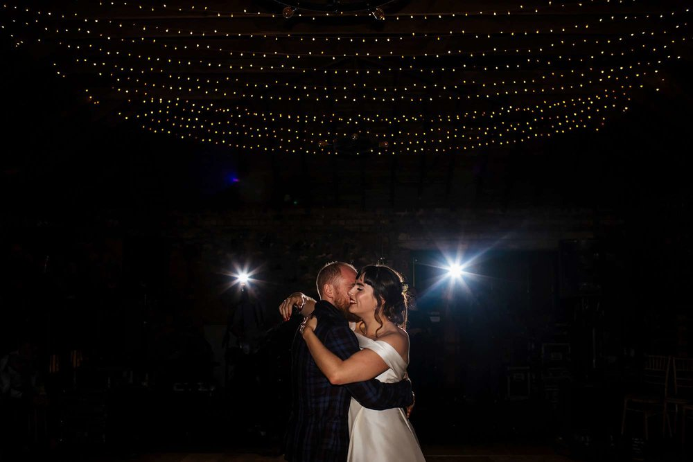 First dance as bride and groom at a Yorkshire wedding