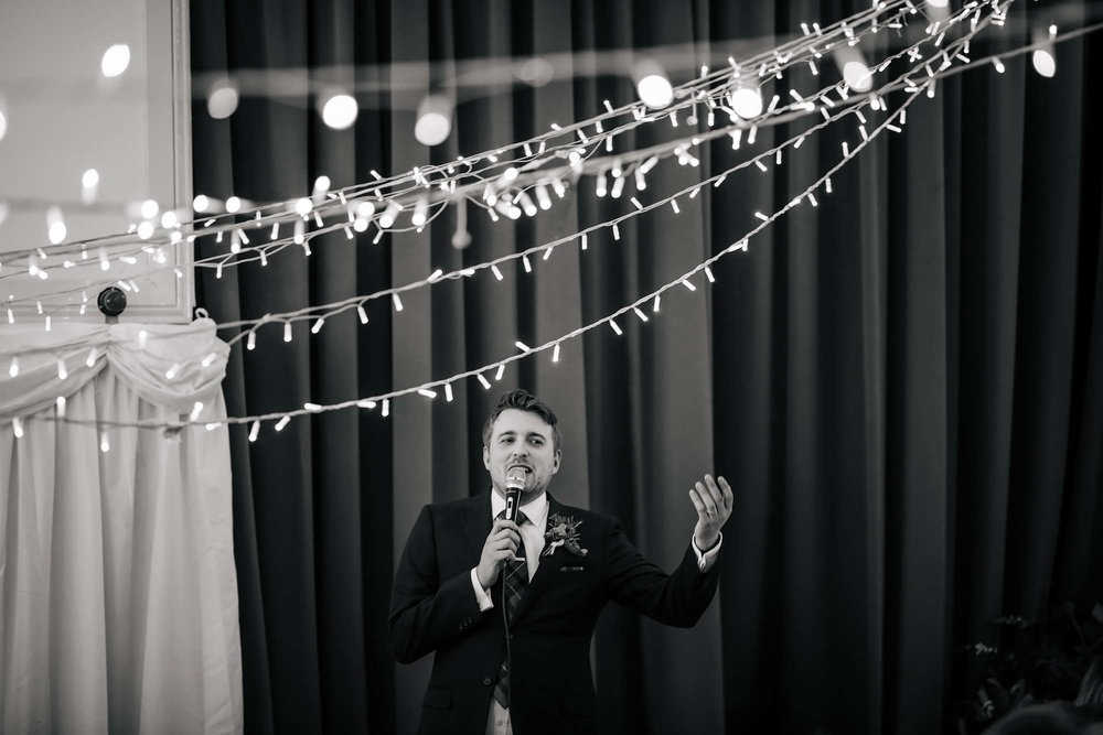 A groom making his speech on his wedding day in Yorkshire