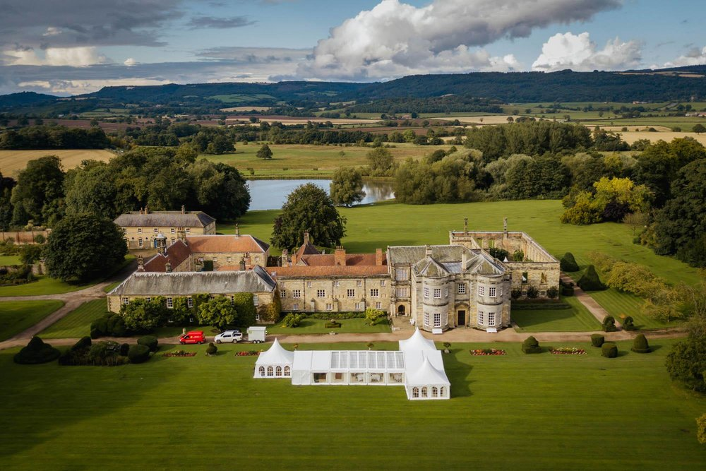 Aerial drone photograph of Newburgh Priory