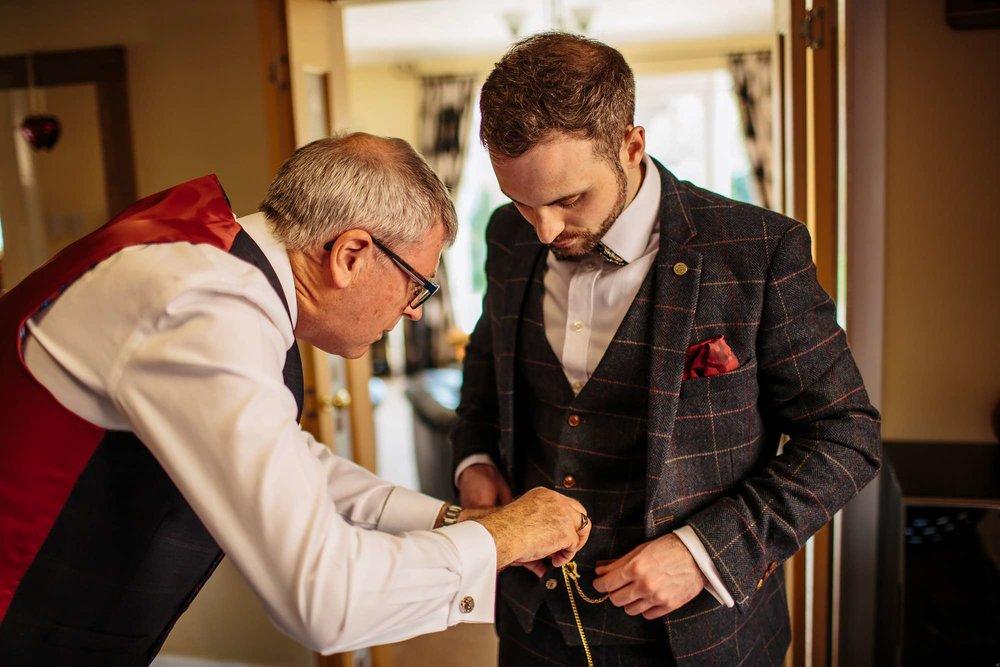 Browsholme Hall Wedding groom preparation