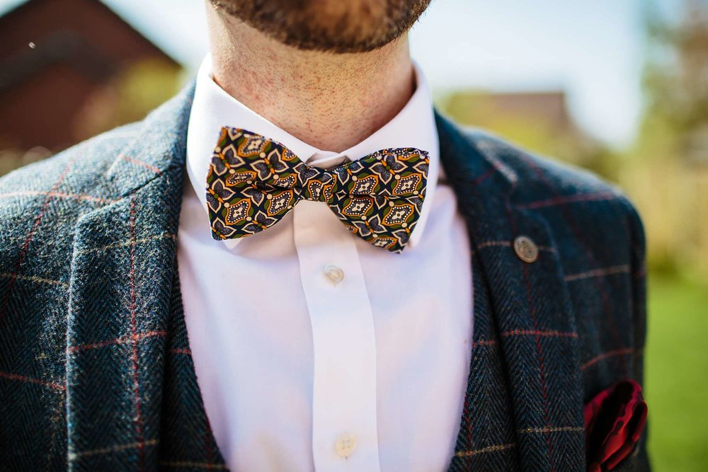 Groom's bow tie at Browsholme Hall Wedding
