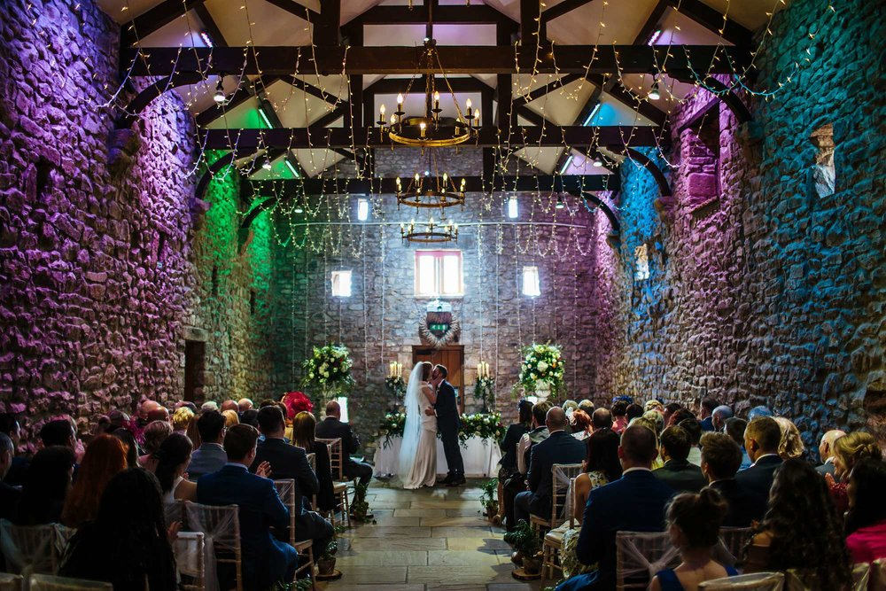 First kiss between man and wife at Browsholme Hall Wedding