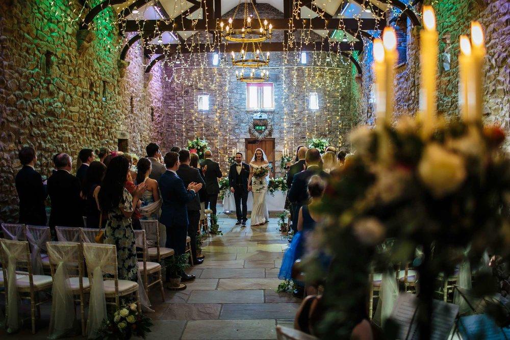 Walking down the aisle at a Browsholme Hall Wedding