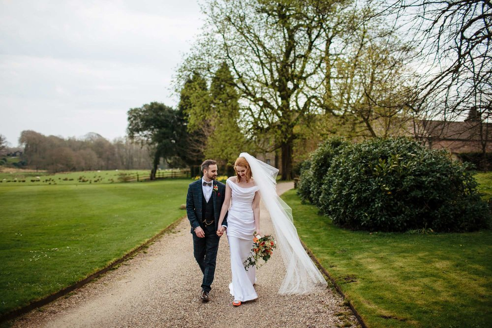 Bride and groom on their wedding day at Browsholme Hall Lancashire