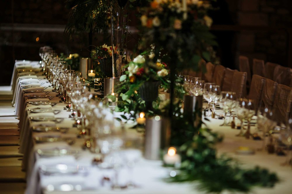 Table details at a Browsholme Hall Wedding