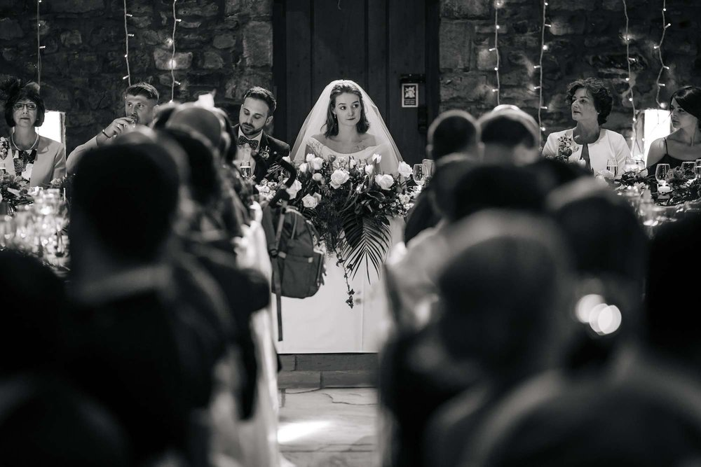 Bride at her table on her wedding day in Lancashire