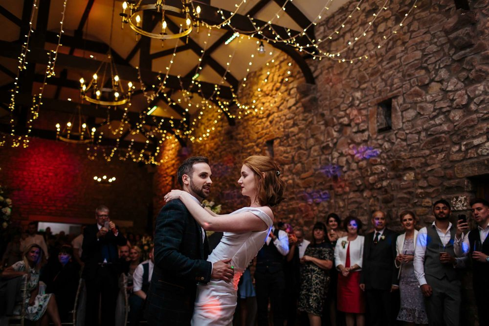 Bride and groom perform their first dance at Browsholme Hall Wedding