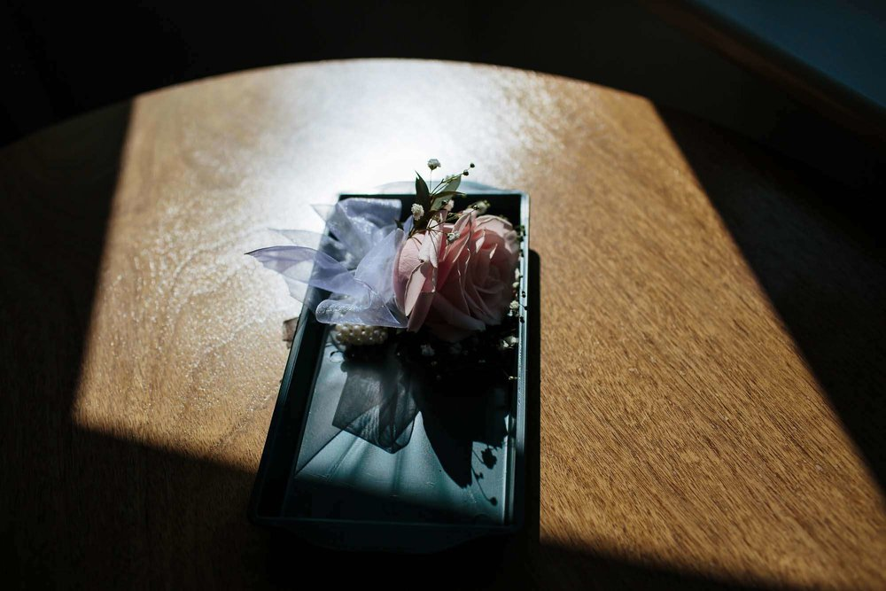Photograph of flowers at a wedding