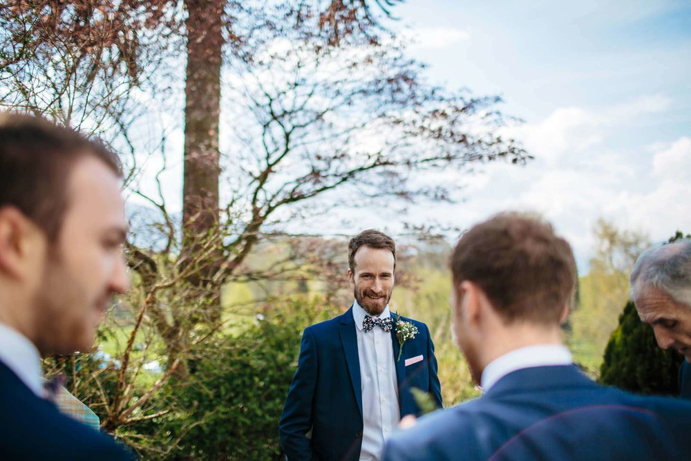 Guests at a wedding in the Lake District