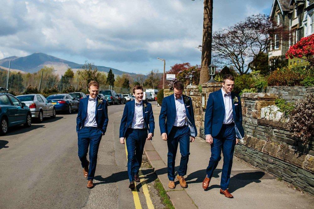 Boys walking to the church wedding in Keswick