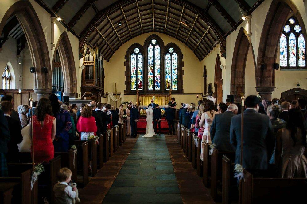 Keswick church interior at a wedding