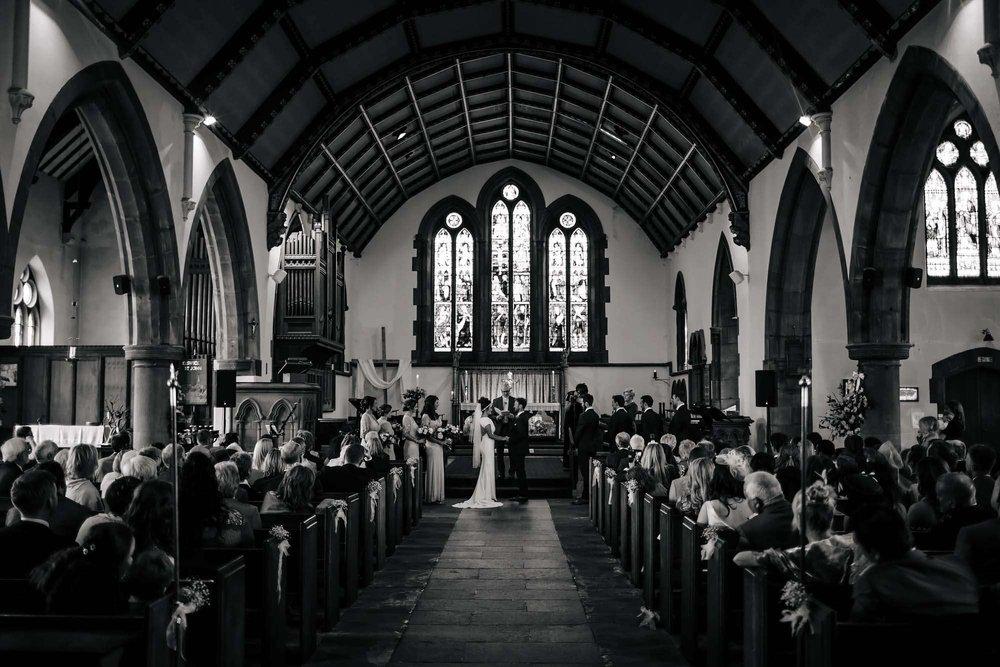 Black and white photo of Keswick church