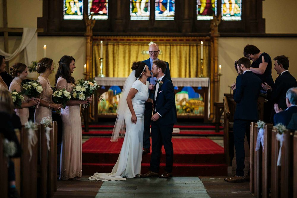 First kiss at a Lake District wedding