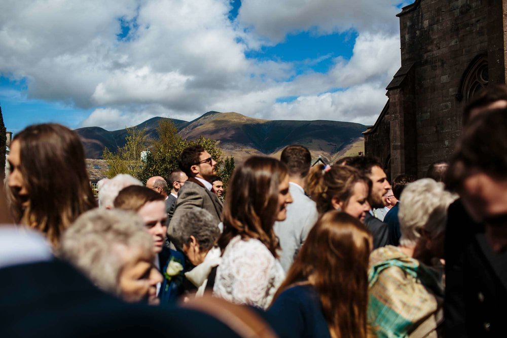 Guests and mountains at a Lake District wedding