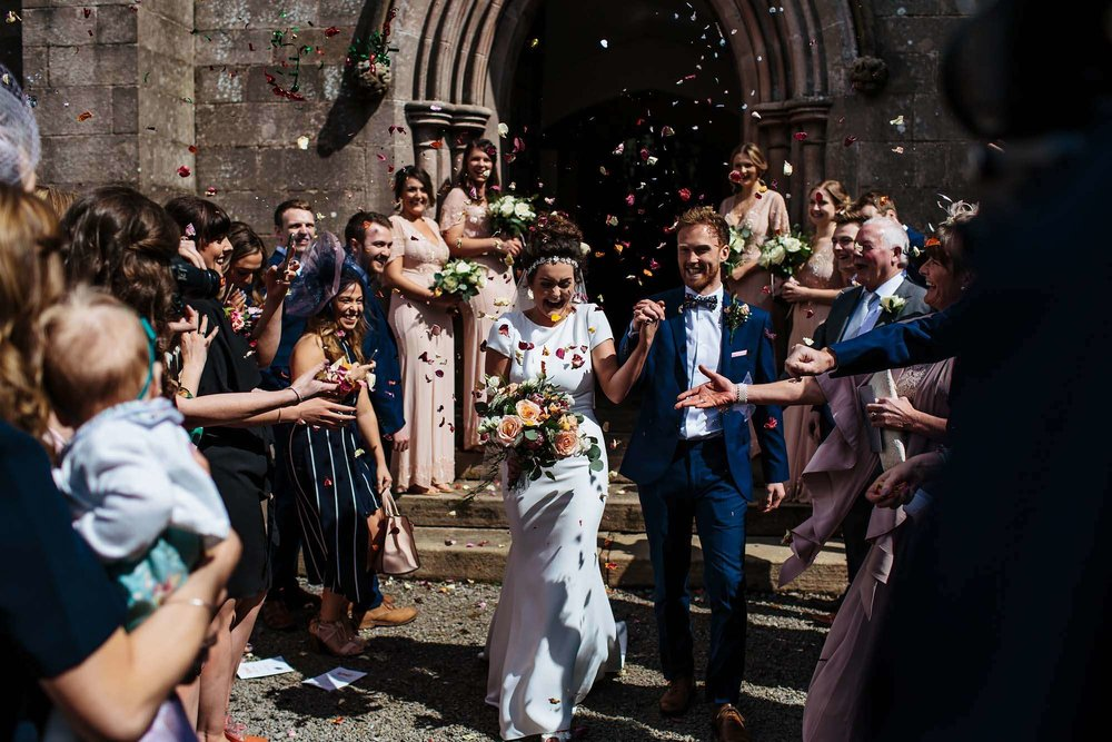 Confetti at a wedding in the Lake District