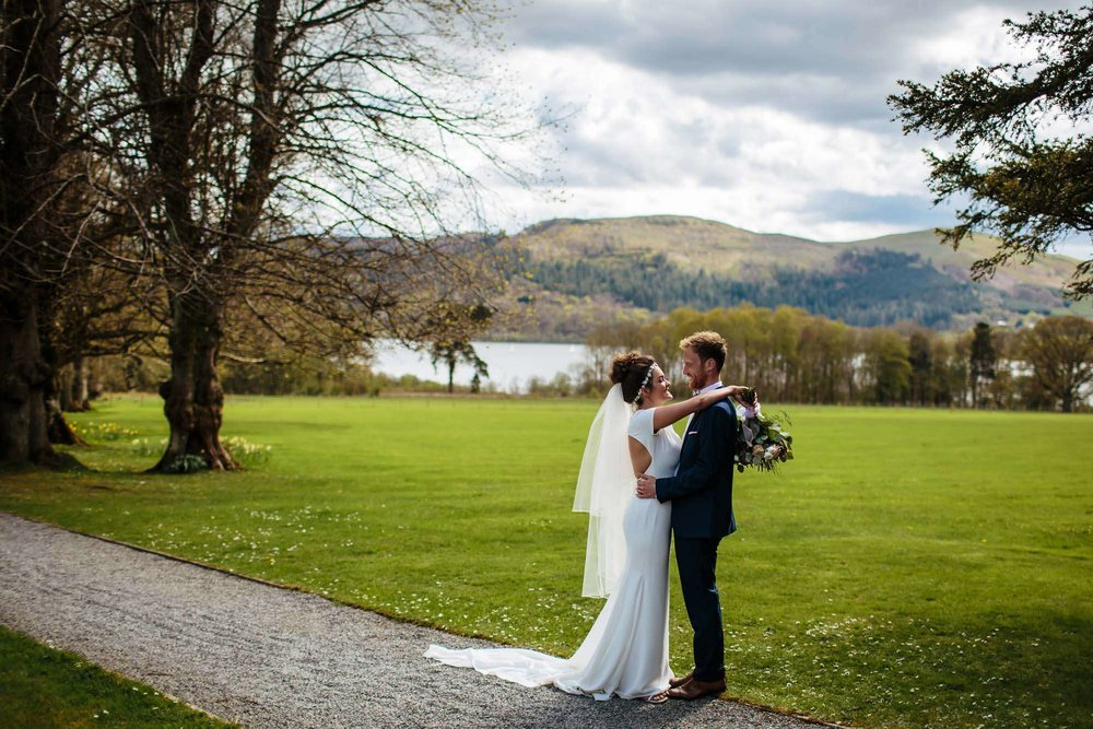 Bride and groom portrait at Lake Bassenthwaite
