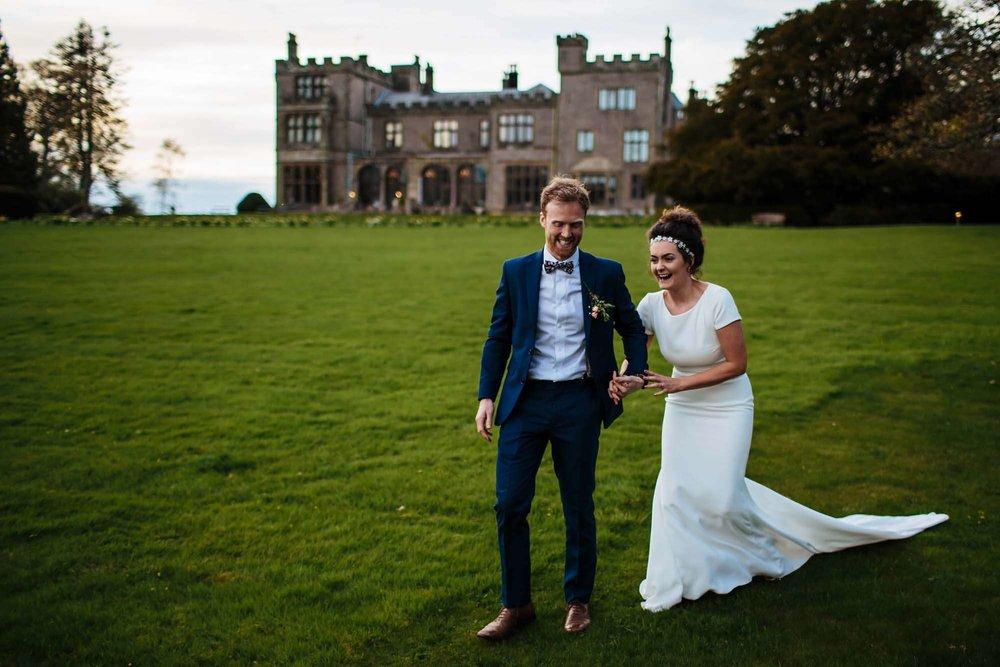 Bride and groom at Armathwaite Hall