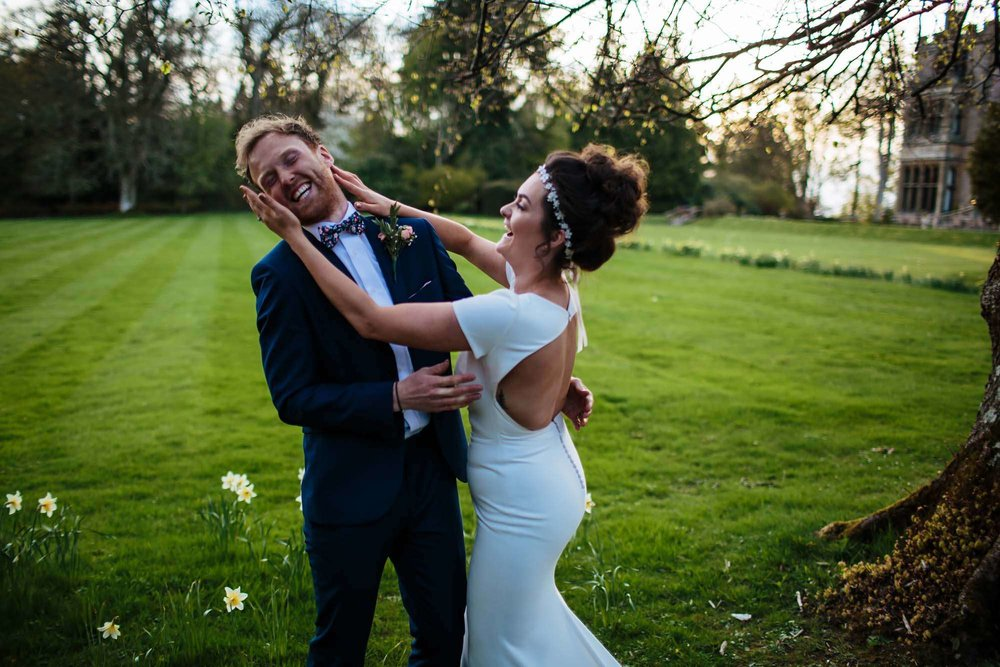 Bride and groom being silly on their wedding day
