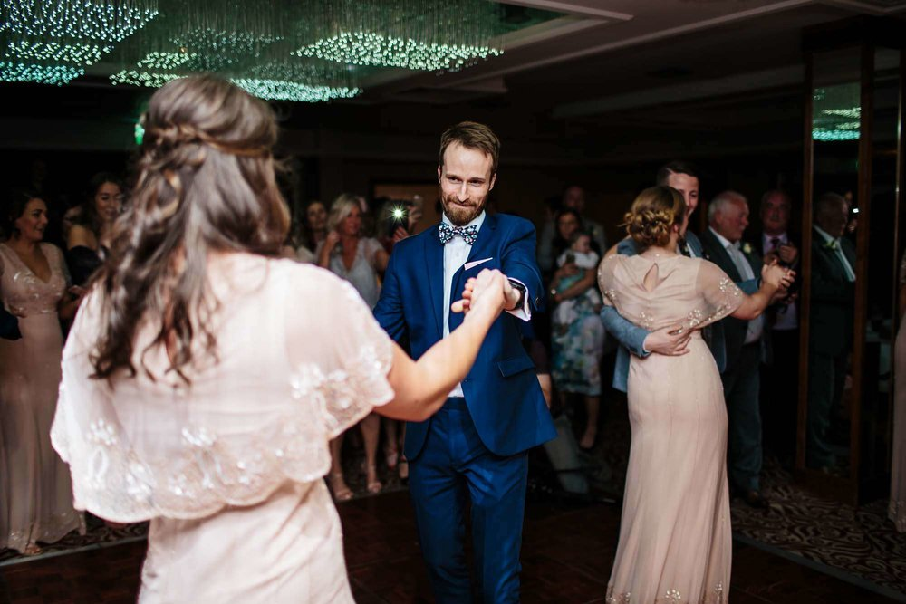 Guests dancing at a Lake District wedding