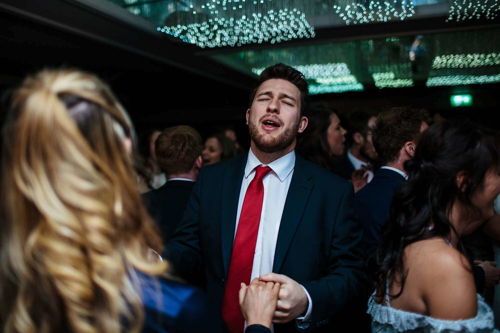 Wedding guests on the dance floor at Armathwaite Hall