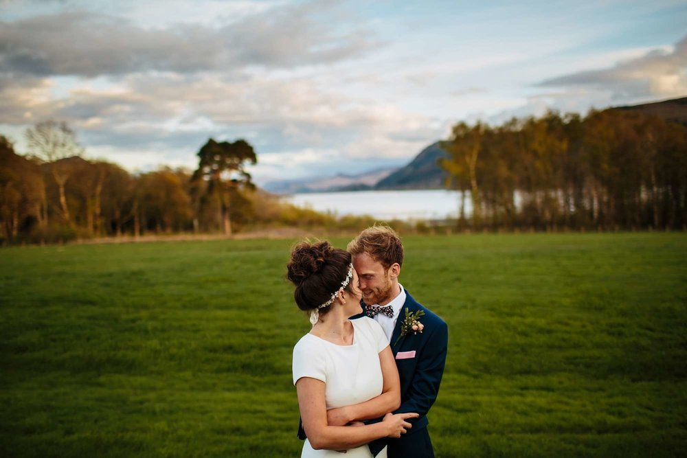 Bride and groom sunset portrait in the Lake District