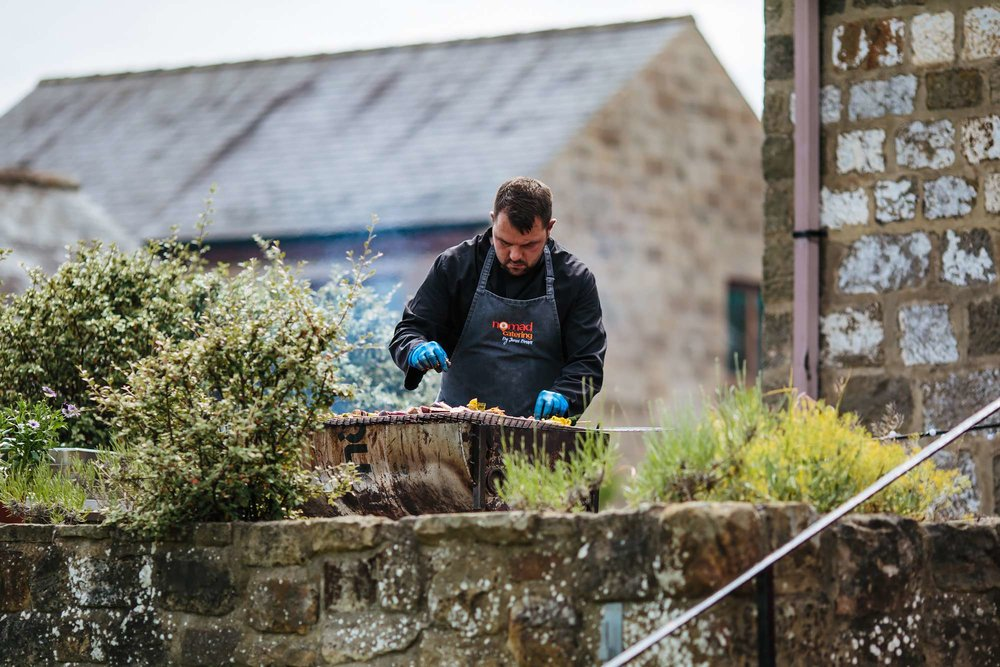 Chef on the BBQ at East Keswick Village Hall